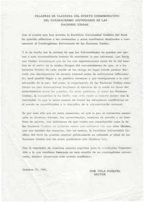 Palabras De Clausura Del Evento Conmemorativo Del Cuadragésimo Aniversario De Las Naciones Unidas