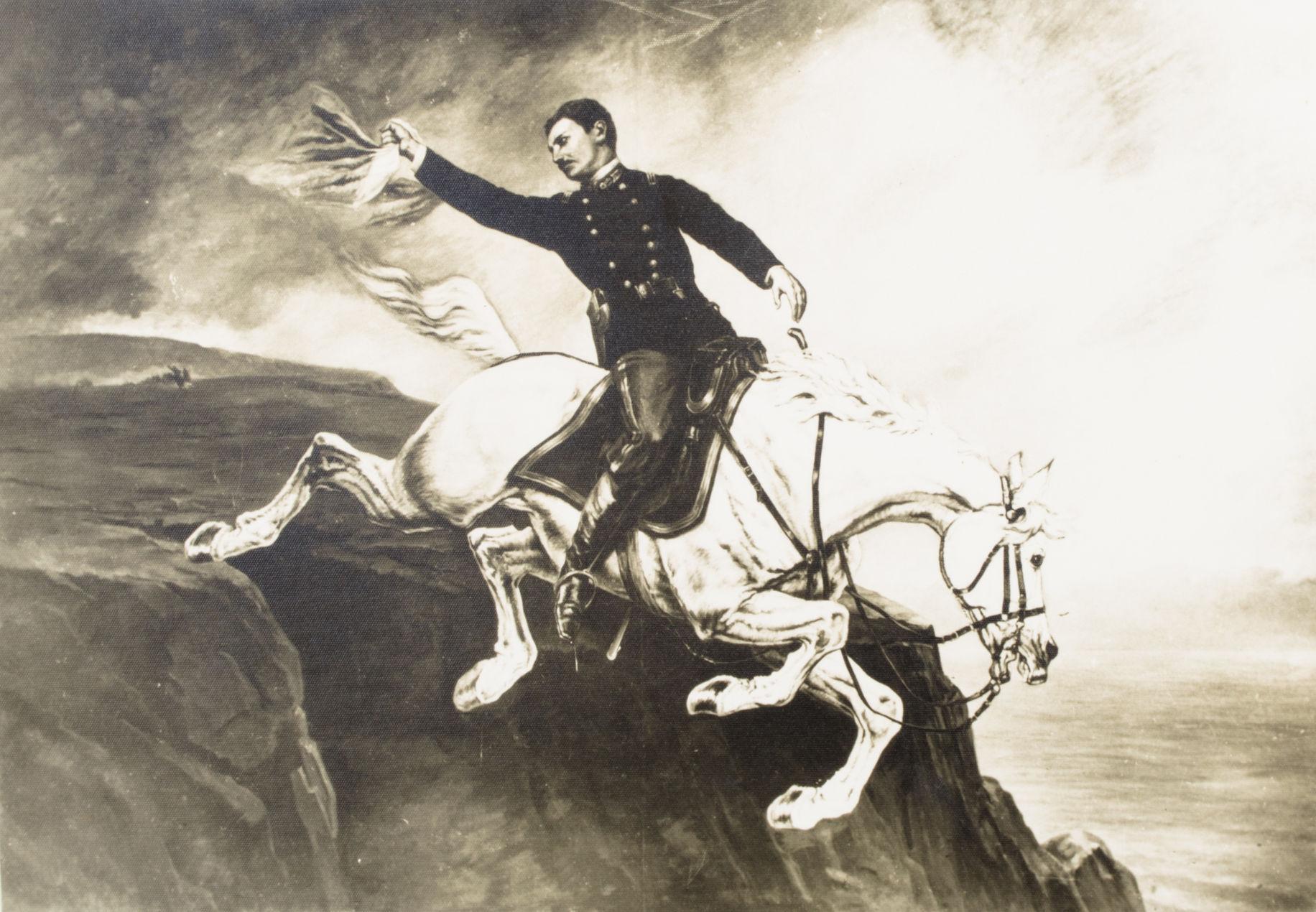 El Coronel Alfonso Ugarte Arrojándose Del Morro De Arica Ilustración